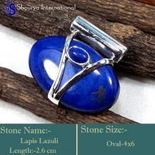 IPC958-Blue Colour Lapis Lazuli 925 Sterling Silver Oval Shape Pendants