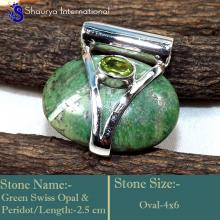 IPC957-Green Colour Gemstone Green Swiss Opal 925 Sterling Silver Handmade Pendants