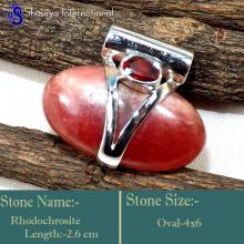 IPC956-Exclusive Handmade Gemstone Rhodochrosite & Garnet Pendants 925 Sterling Silver