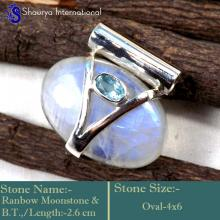 IPC955-Sparkling Blue Fire Rainbow Moonstone Wholesale Handmade Pendants 925 Sterling Silver