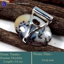 IPC952-Genuine Russian Dendrite Gemstone 925 Sterling Silver Handmade Pendants