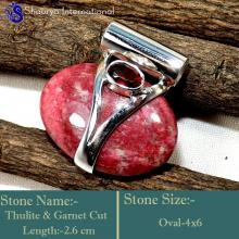 IPC950-Pink Colour Gemstone Thulite 925 Sterling Silver Wholesale Pendants