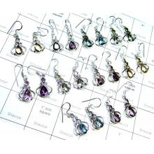 Faceted Two Gemstone Earrings-SS6CE010