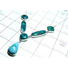 Larimar, Copper Blue Turquoise Necklace-SS6CNC004