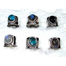 Cab Multi Stone Rings Lot-SS6CR007