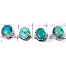 Cab Turquoise Rings-SS6CR008