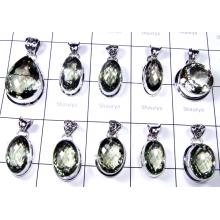 Big Cut Green Amethyst Stone Pendants Lot-SS6FP007