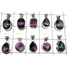 Big Cut Mystic Stone Pendants Lot-SS6FP011