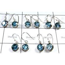 New Cut Blue Topaz Earrings-SS6YE027
