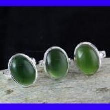 SVP998- Serpentine Cabochon Gemstone Wholesale 3 Pcs Lot Pretty Rings With 925 Sterling Silver