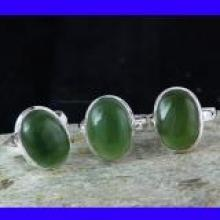 SVP997-  925 Sterling Silver Serpentine Cabochon Gemstone Wholesale 3 Pcs Lot Pretty Rings