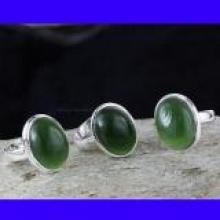 SVP995- 925 Sterling Silver Serpentine Cabochon Gemstone Pretty Rings 3 Pcs Wholesale Lot