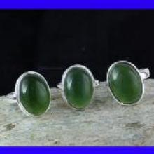SVP994-Serpentine Cabochon Gemstone Pretty Rings With 925 Stering Silver 3 Pcs Wholesale Lot