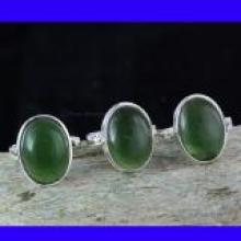 SVP991- 925 Sterling Silver New Serpentine Cabochon Gemstone 3 Pcs Beautiful Ring Set