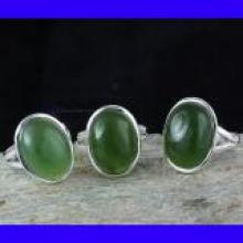 SVP989- Beautiful 3 Pcs Ring Set New Serpentine Cabochon Gemstone Wholesale Lot With 925 Sterling silver