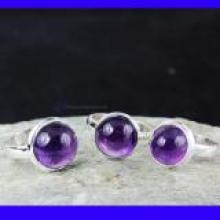 SVP958- Wholesale Lot Amethyst Cab Gemstone Beautiful 3 Pcs Set Of Rings With 925 Sterling Silver