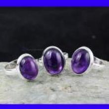 SVP957-925 Sterling silver Amethyst Cab Gemstone Beautiful 3 Pcs Set Of Rings