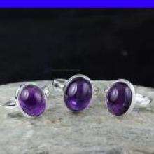 SVP953-Amethyst Cab Gemstone Wholesale Lot Beautiful 3 Pcs Set Of Rings With 925 Sterling Silver