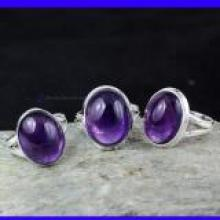 SVP951-New 3 Pcs Wholesale Lot Of Amethyst Cab Gemstone Rings