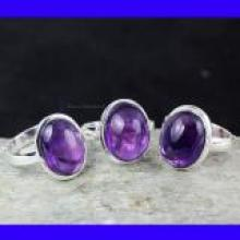SVP950-Wholesale Lot Of Amethyst Cab Gemstone Rings 3 Pcs