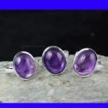 SVP948-Amethyst Cab Gemstone Rings New 3 Pcs Wholesale Lot With 925 Sterling Silver
