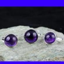 SVP947- New 3 Pcs Rings Wholesale Lot Amethyst Cab Gemstone With 925 Sterling Silver