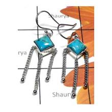 Wholesale silver Turquoise gems Earring-TQE009