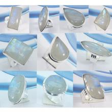 CBP991-10 Pcs Rainbow Moonstone 925 Sterling Silver Wholesale Rings