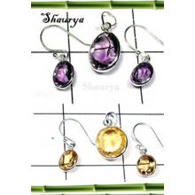 W2BCS998-250 gm- Exclusive Silver Cut Gemstone Bejel Set