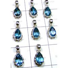 W2BT999-250 gm-Natural Blue Topaz Designer Pendants