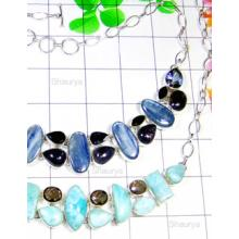 W2CBN999-250 gm-Exclusive 925 silver with Cut & Cab Multi Gemstone Necklaces