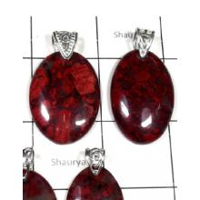 W2DP947-250 gm-Red Jasper Semiprecious Gemstone Silver Pendants