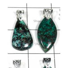 W2DP957-250 gm-Wholesale Silver Azurite Pendants