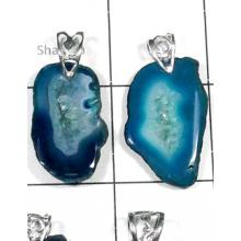W2DP961-250 gm-Elegant Slice Drusy Gemstone Silver Pendants