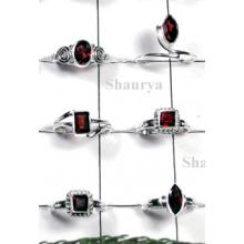 W2FR994-100 Pcs-Beautiful Sterling Silve Rings With Garnet