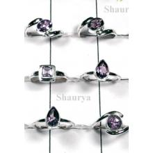 W2FR998-100 Pcs-Cut Amethyst Sterling Silver Rings