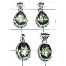 W2GA993-250 gm-925 sterling silver Green Amethyst Pendants