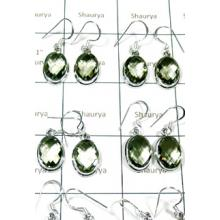 W2GA996-250 gm-Cut Green Amethyst  Plain Setting Earrings