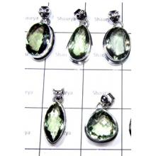 W2GA997-250 gm-Original Green Amethyst Plain Setting Pendants