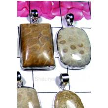 W2GFC999-250 gm-Fossil Coral Gemstone Silver Pendants