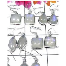 W2GRM996-250 gm-Wholesale Silver Rainbow Moonstone Earrings