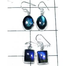 W2LBD997-250 gm-Labradorite Semiprecious Gemstone Silver Earrings