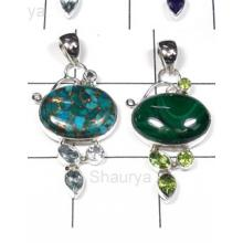 W2LCP940-10 Pcs-Multi Color Gemstone Silver Pendants