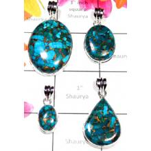 W2MT988-250 gm- Wholesale silver Blue Copper Turquoise Pendants