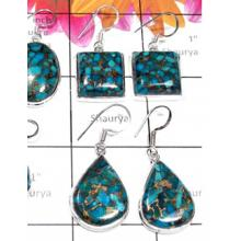 W2MT989-250 gm- Blue Copper Turquoise Gemstone silver Earrings