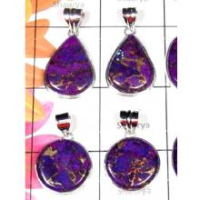 W2MT993-250 gm-925 Sterling Silver Purple Copper Turquoise Pendants