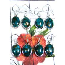 W2MT997-250 gm-Fabulous Blue Copper Turquoise Hanging Earrings