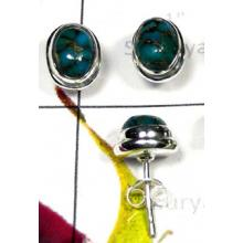 W2MT999-250 gm-Natural Turquoise Plain setting studs Earrings