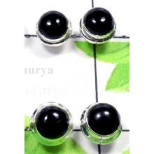 W2PS994-100 Pair-Lovely Black Onyx Plain Setting Stud Earrings