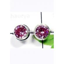 W2PS995-100 Pair-Beautiful Synthetic Pink CZ Stud Earrings